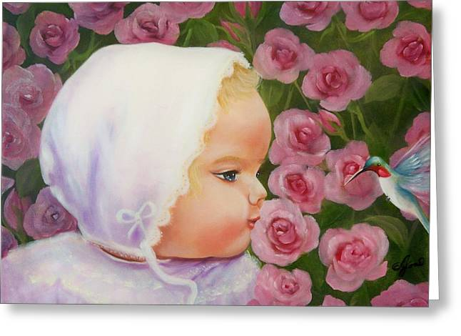 Baby Meets Hummingbird Greeting Card by Joni McPherson