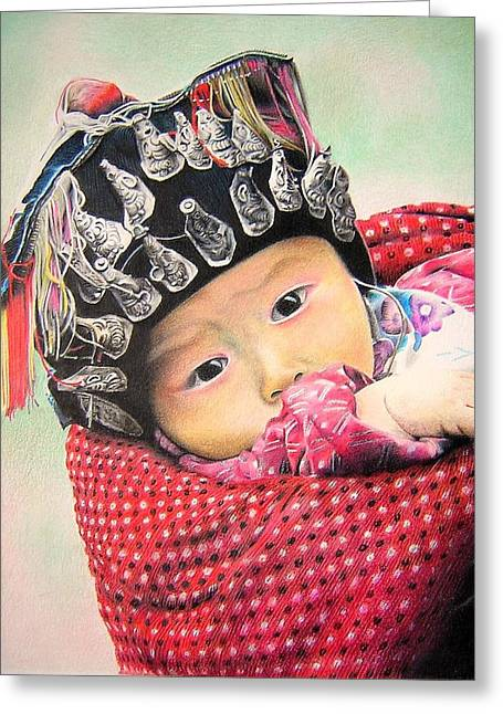 Baby Miao Greeting Card by Eric Pouillet
