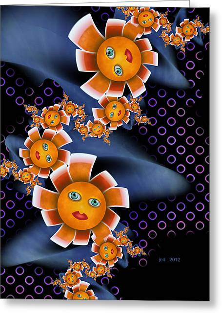 Baby Orange Flowers Greeting Card by Josette Dery