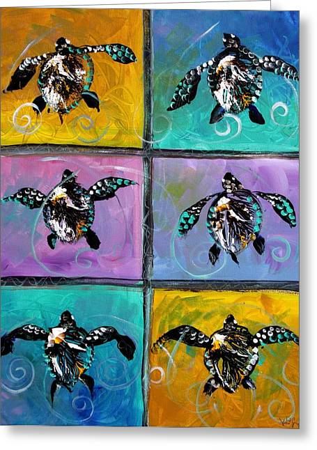Baby Sea Turtles Six Greeting Card by J Vincent Scarpace