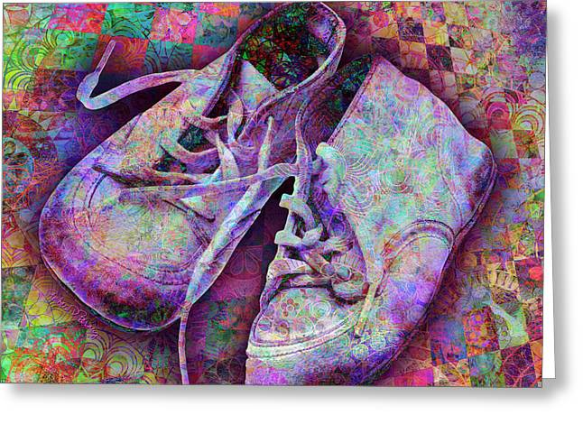 Baby Shoes Greeting Card by Barbara Berney
