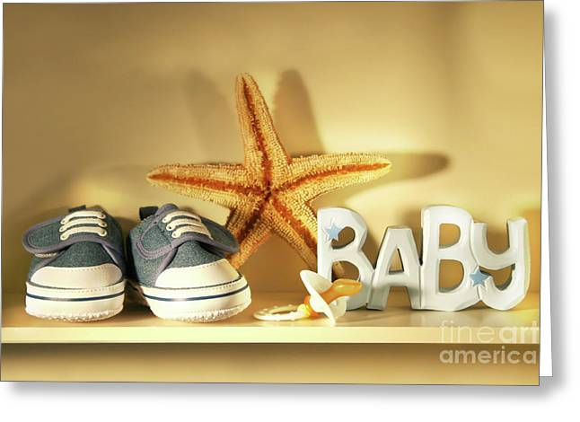 Baby Shoes On The Shelf Greeting Card by Sandra Cunningham