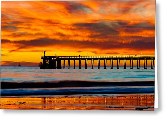 Bacara Haskell Beach And Pier Santa Barbara  Greeting Card