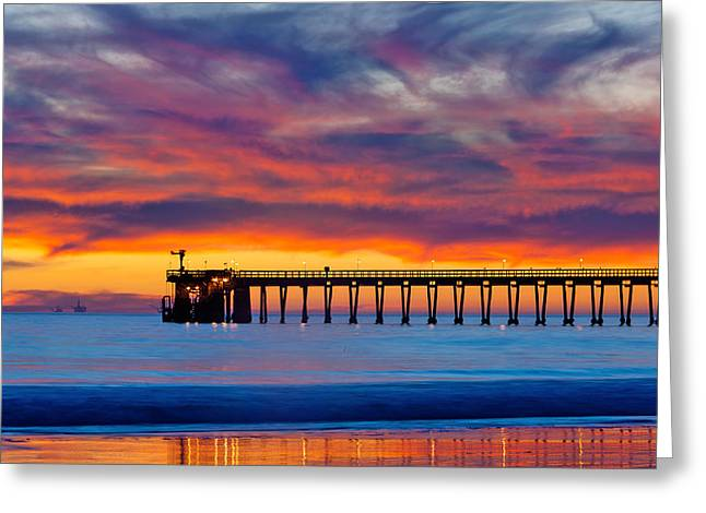 Bacara Haskells Beach And Pier Santa Barbara  Greeting Card