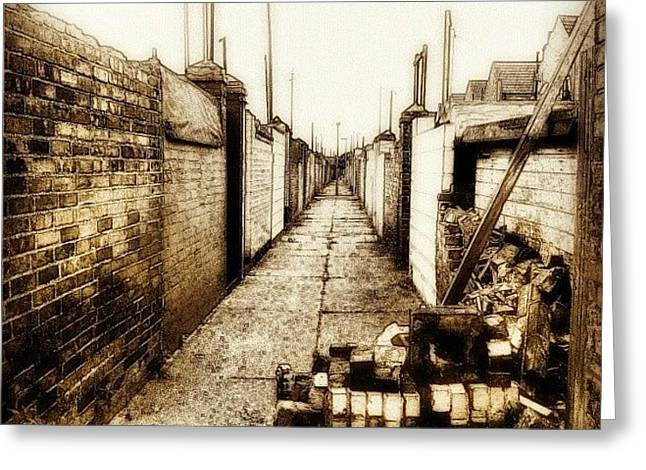 Back Alley #wall #bricks #alley #sky Greeting Card