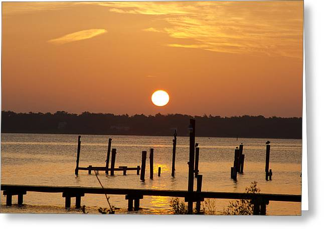Back Bay Biloxi Sunrise Greeting Card by Diane Carlisle