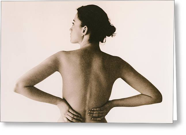 Back Pain Greeting Card by Cristina Pedrazzini