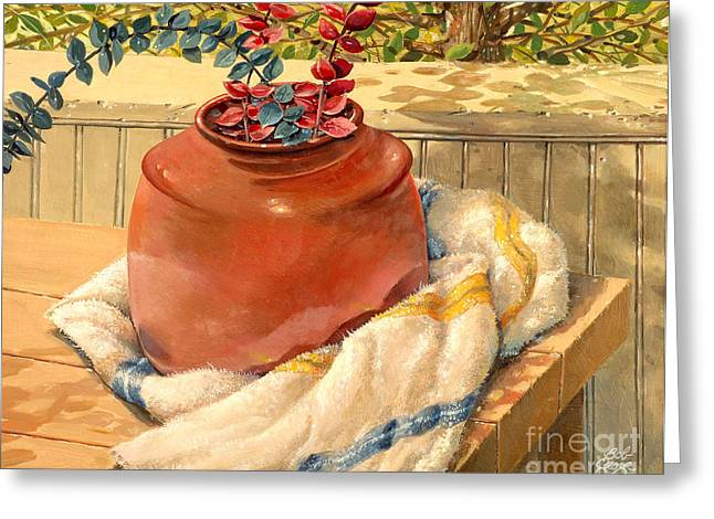 Greeting Card featuring the painting Back Porch Crockery by Bob  George