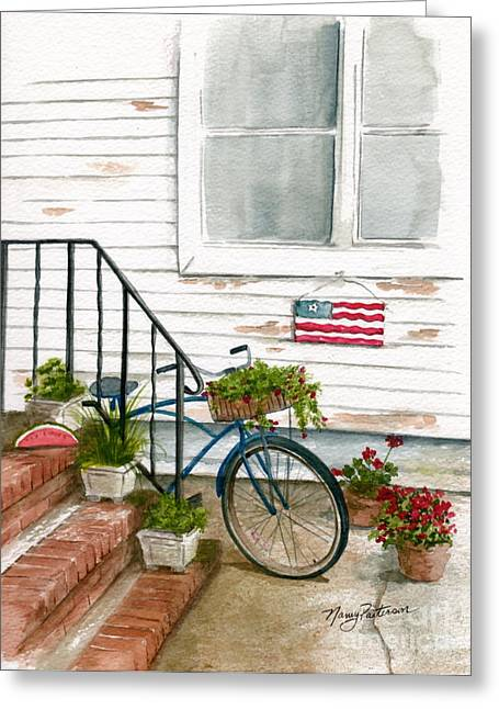 Greeting Card featuring the painting Back Step by Nancy Patterson