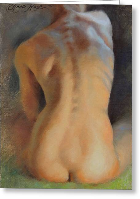 Back Study In Warm And Cool Greeting Card by Anna Rose Bain