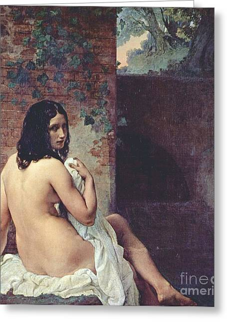 Back View Of A Bather Greeting Card by Pg Reproductions