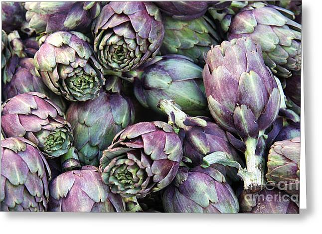 Background Of Artichokes Greeting Card by Jane Rix
