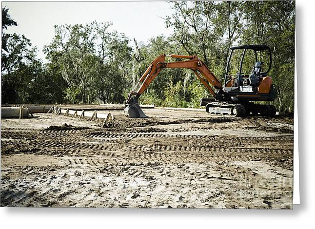 Backhoe On Construction Site Greeting Card by Sam Bloomberg-rissman