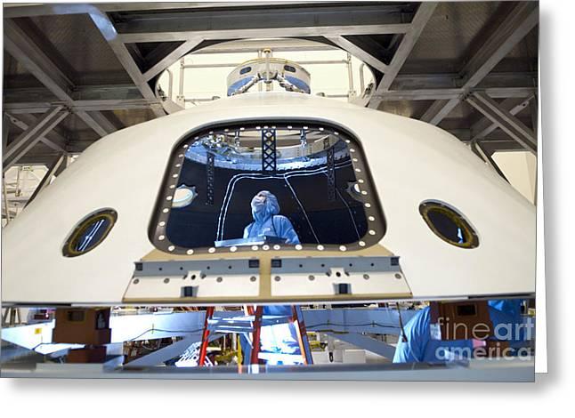 Backshell Preparation Greeting Card by NASA/Jim Grossmann