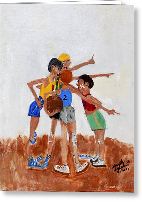 Greeting Card featuring the painting Backyard Basketball by Swabby Soileau