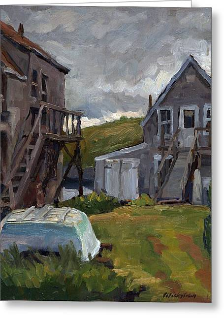 Backyard In Maine Greeting Card by Thor Wickstrom