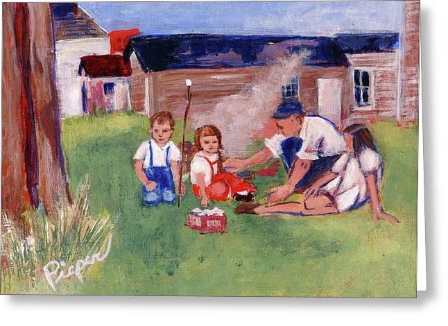 Backyard Picnic In Rural Grove Greeting Card