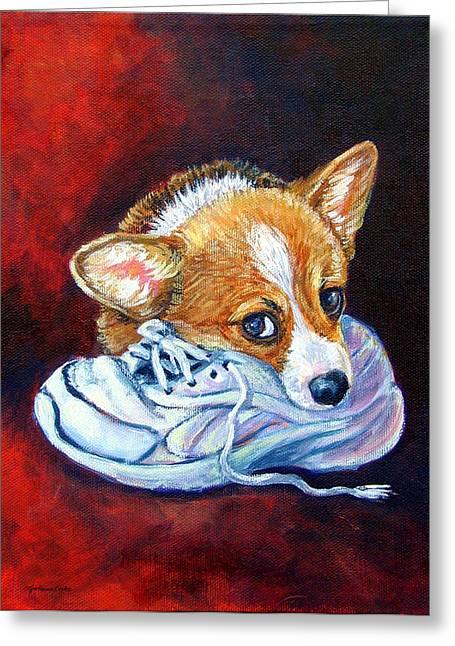 Bad Puppy - Pembroke Welsh Corgi Greeting Card by Lyn Cook