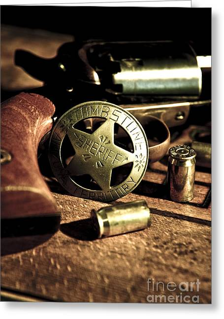 Badge And Gun Greeting Card