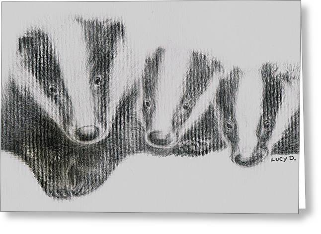 Greeting Card featuring the drawing Badgers by Lucy D
