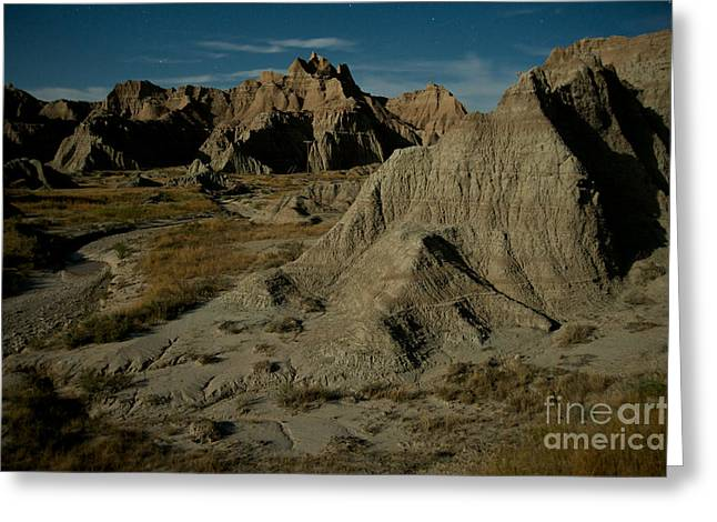 Badlands By Moonlight Greeting Card by Chris Brewington Photography LLC