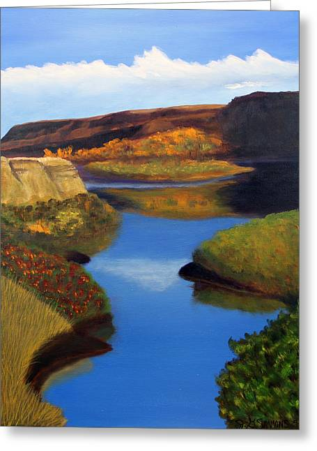 Greeting Card featuring the painting Badlands River by Janet Greer Sammons