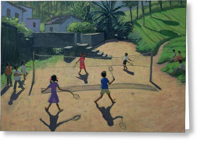 Badminton Greeting Card by Andrew Macara