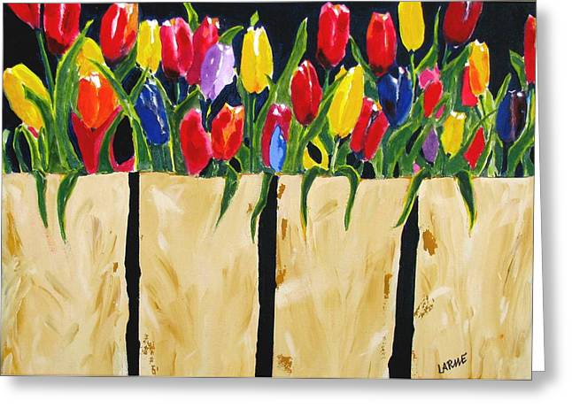 Bagged Tulips Greeting Card by Ron LaRue