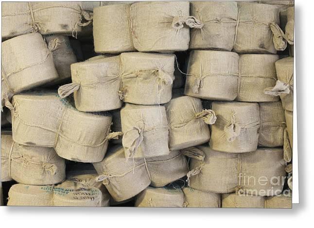 Bags Of Flax Greeting Card by Magomed Magomedagaev