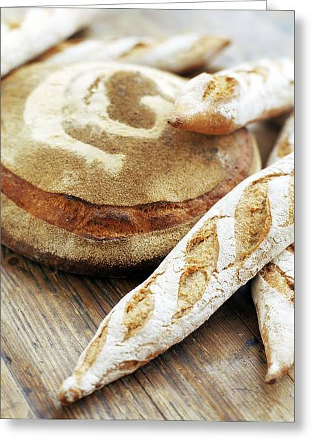 Baguettes And A Loaf Of Bread Greeting Card by David Munns