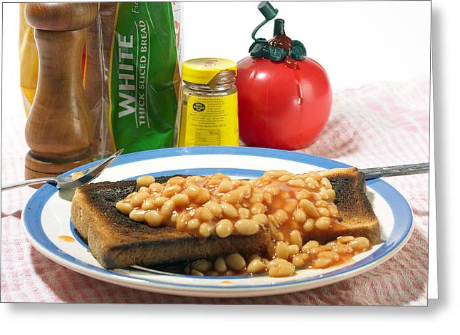Baked Beans On Toast Greeting Card by Tony Mcconnell