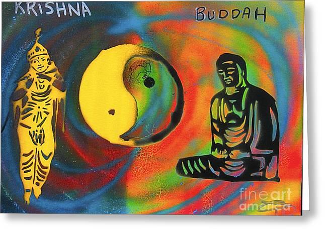 Balanced Buddha And Krishna Greeting Card by Tony B Conscious