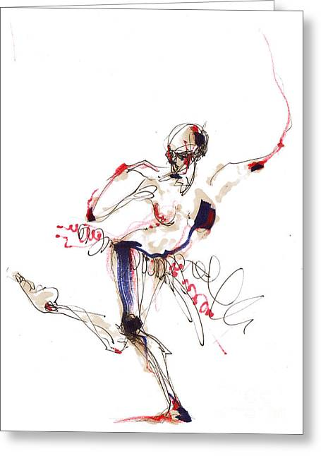 Balancing Body Structure In Red White And Blue Greeting Card by Lousine Hogtanian