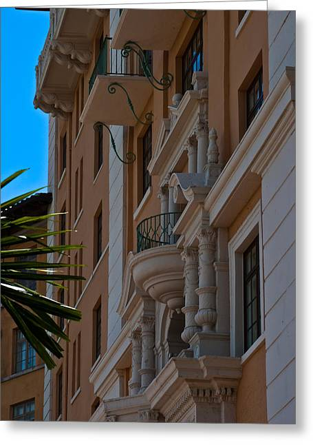 Greeting Card featuring the photograph Balcony At The Biltmore Hotel by Ed Gleichman