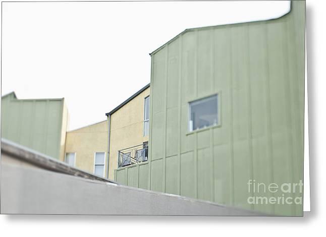 Balcony Railing On Green Building Greeting Card