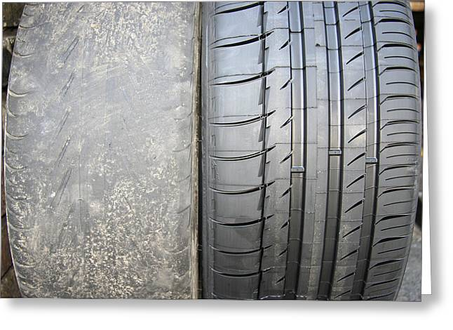 Bald And New Tyre Greeting Card by Cordelia Molloy