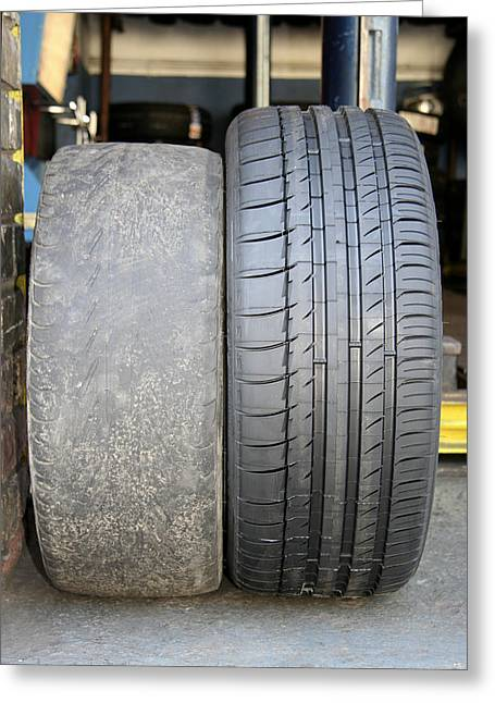 Bald And New Tyres Greeting Card