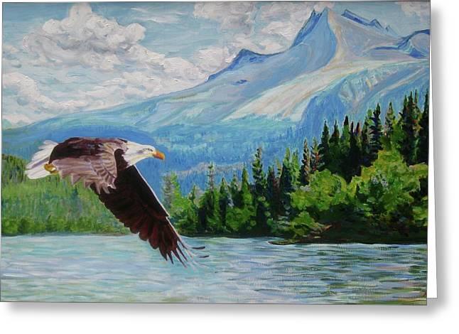 Bald Eagle Fishing Greeting Card