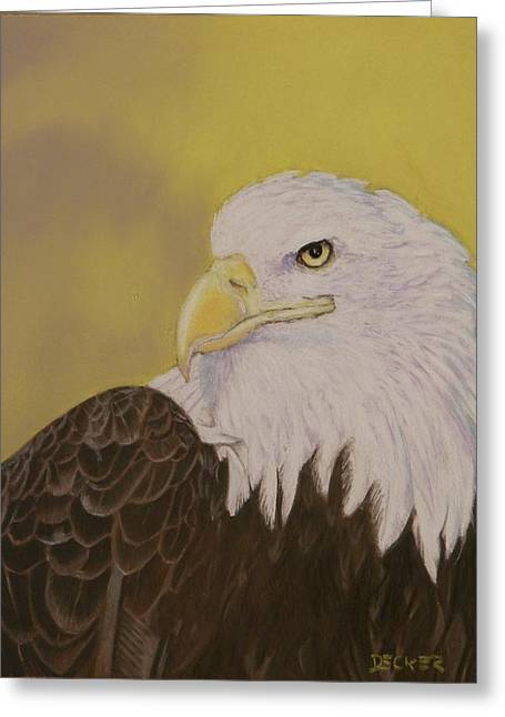 Greeting Card featuring the drawing Bald Eagle by Robert Decker