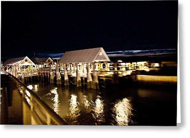 Bald Head Island Marina At Night Greeting Card by Betsy Knapp