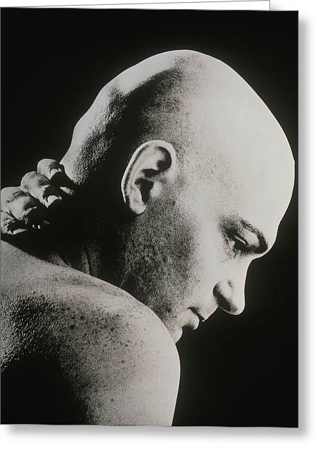 Bald Man Holding His Neck Suffering From Pain Greeting Card