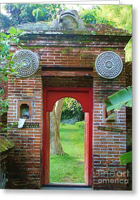 Bali Gate Greeting Card by Michelle Matisse