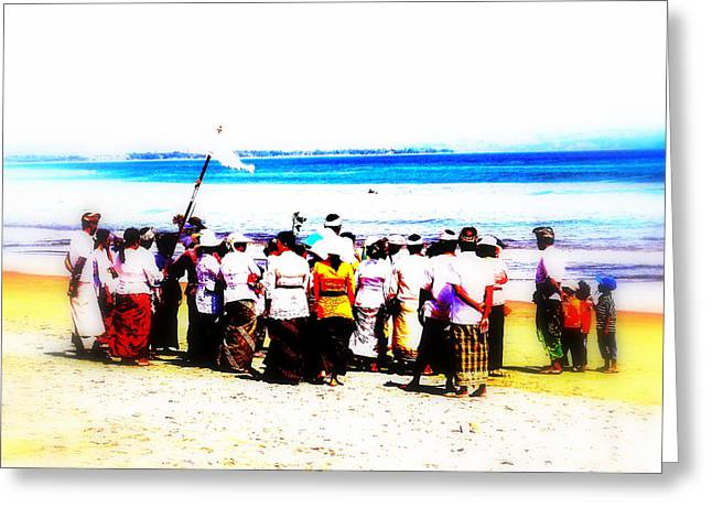 Balinese Beach In Mourning Greeting Card by Funkpix Photo Hunter