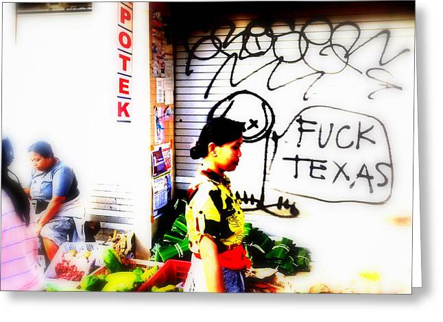 Balinese Tagging Texas Greeting Card by Funkpix Photo Hunter