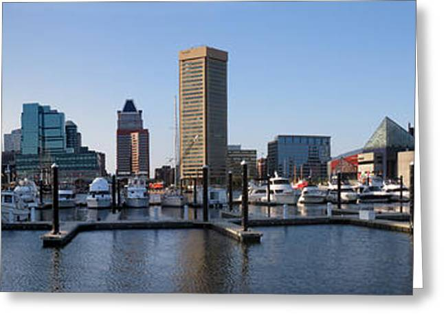 Greeting Card featuring the photograph Balitmore Inner Harbor Panorama by Darleen Stry