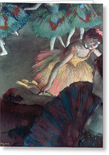 Ballerina And Lady With A Fan Greeting Card by Edgar Degas
