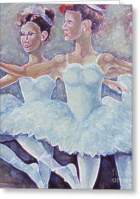 Greeting Card featuring the painting Ballerina Dance by Rita Brown