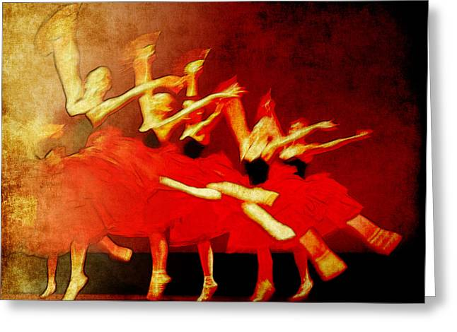 Ballet In Red Greeting Card by Chris Modarelli