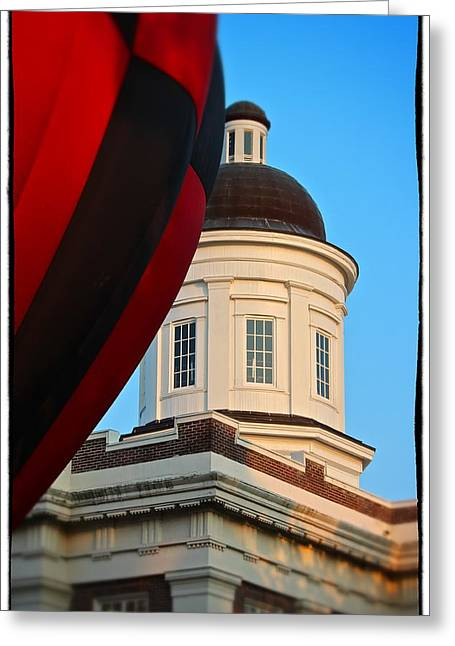Greeting Card featuring the photograph Balloon And Dome Of The Canton Courthouse by Jim Albritton