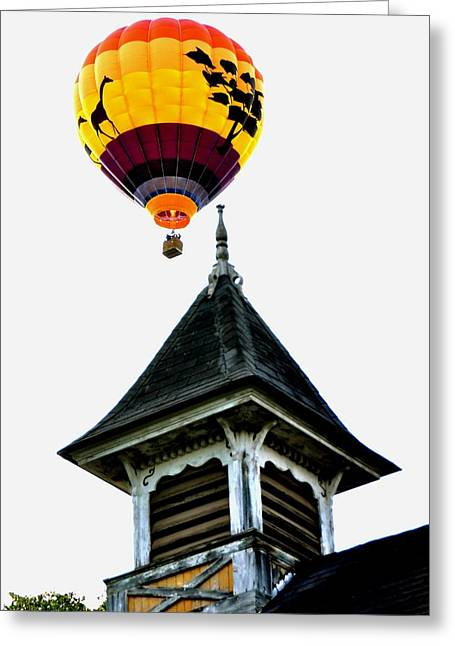 Greeting Card featuring the photograph Balloon By The Steeple by Rick Frost